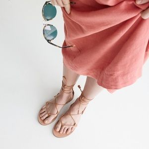 Madewell Shoes - tan boardwalk leather lace up gladiator sandals